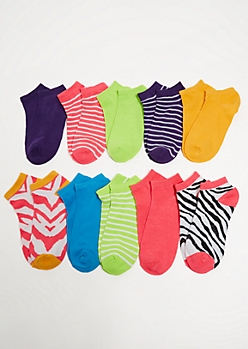 10-Pack Neon Striped Ankle Sock Set
