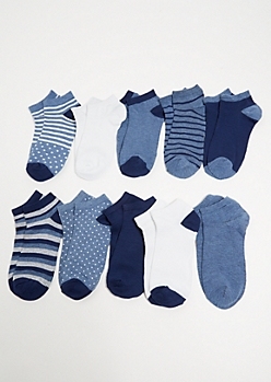 10-Pack Blue Patterned Ankle Sock Set