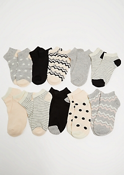 10-Pack Oatmeal Colorblock Chevron Ankle Sock Set