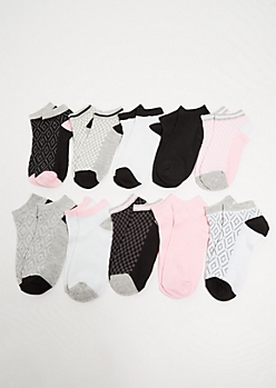 10-Pack Black Checkered Print Ankle Sock Set