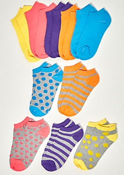 10-Pack Neon Patterned Ankle Sock Set
