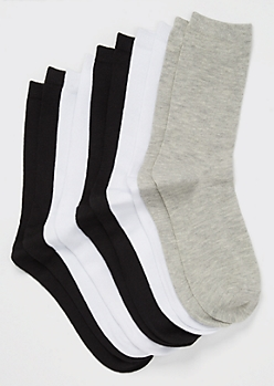5-Pack Assorted Solid Crew Socks