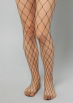 Black Open Knit Fishnet Tights