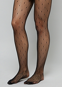 Black Swiss Dotted Pattern Fishnet Tights
