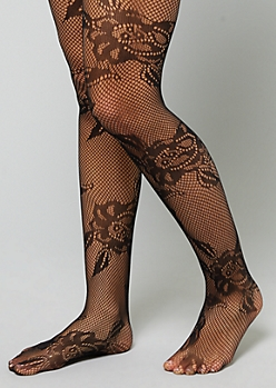 Black Floral Fishnet Tights