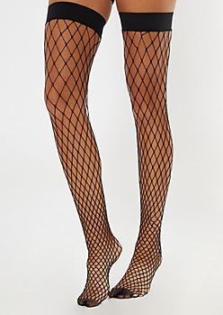 Black Thigh High Fishnet Stockings