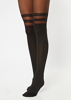 Black Varsity Stripe Tights