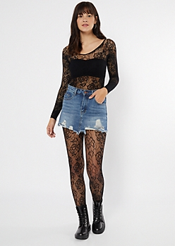 Black Floral Fishnet Full Body Tights
