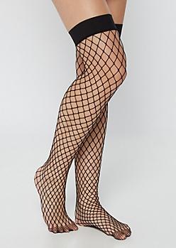 Black Thigh High Fishnet Tights