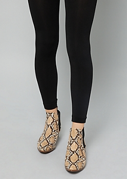 Black Fleece Lined Footless Tights