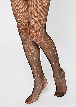 Black Pearl Accent Fishnet Tights