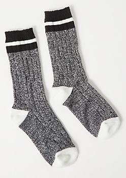Black Marled Colorblock Boot Socks