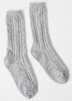 Gray Marled Cable Knit Boot Socks