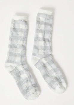Gray Plaid Print Soft Knit Boot Socks