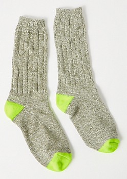 Olive Marled Boot Socks
