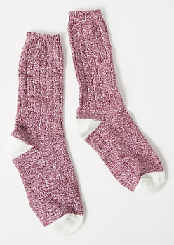 Burgundy Marled Colorblock Boot Socks