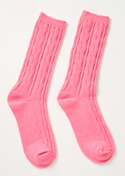 Neon Pink Cable Knit Boot Socks