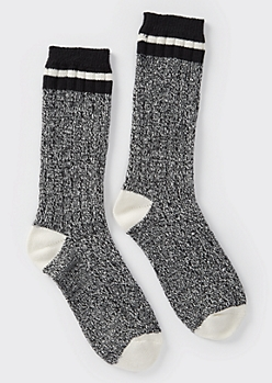 Heathered Black Striped Boot Socks