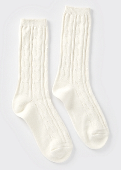 White Cable Knit Boot Socks