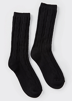Black Cable Knit Boot Socks
