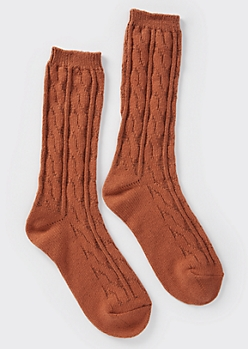 Burnt Orange Cable Knit Boot Socks