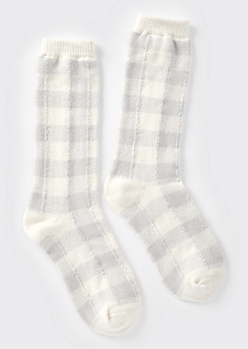 Gray Buffalo Plaid Boot Socks
