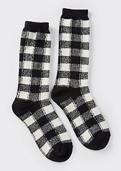 Black Buffalo Plaid Boot Socks