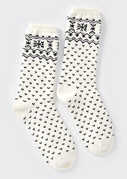 White Fair Isle Pattern Boot Socks
