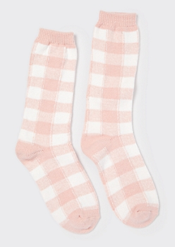 Pink Buffalo Plaid Print Boot Socks