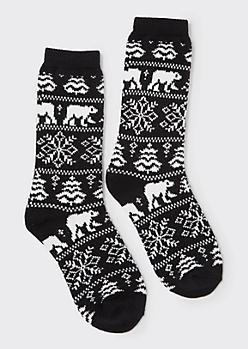 Black Polar Bear Print Boot Socks