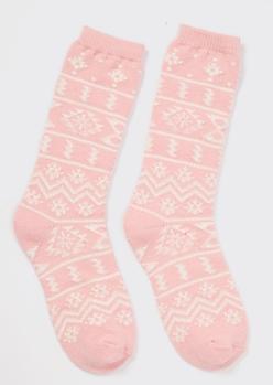 Blush Fair Isle Print Boot Socks