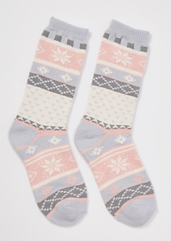 Light Pink Fair Isle Print Boot Socks