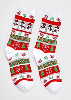 Red Snowman Candy Cane Striped Holiday Socks