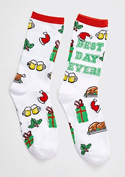White Best Day Ever Printed Holiday Socks