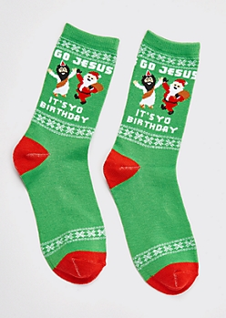 Green Birthday Holiday Socks