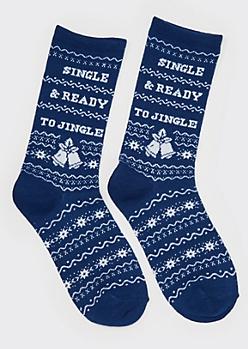 Navy Fair Isle Ready To Jingle Crew Socks