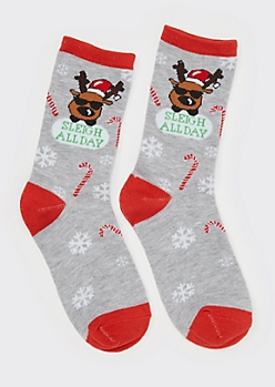 Gray Sleigh All Day Crew Socks