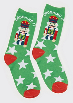 Green Crushin It Nutcracker Crew Socks