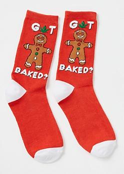 Red Gingerbread Man Crew Socks