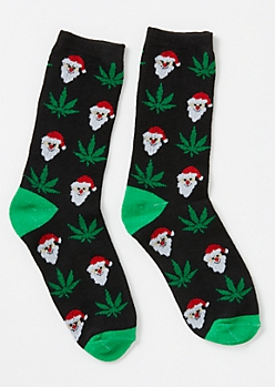 Black Santa Weed Print Crew Socks