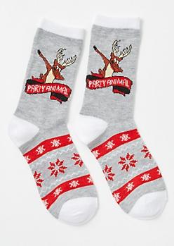 Gray Party Animal Reindeer Crew Socks