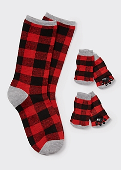 Red Buffalo Plaid Matching Pet Sock Set