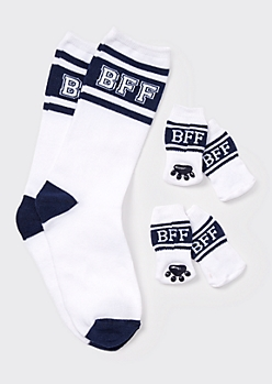 White Varsity BFF Matching Pet Sock Set