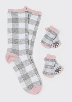 Pink Plaid Print Matching Pet Sock Set