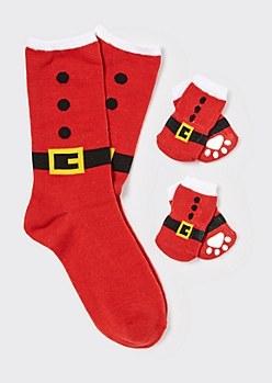 Red Santa Suit Matching Pet Sock Set