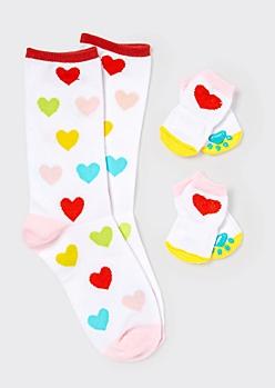 White Heart Print Matching Pet Sock Set