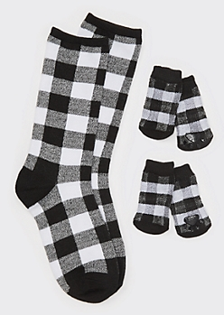 Black Buffalo Plaid Print Matching Pet Sock Set