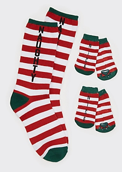Striped Naughty Nice Matching Pet Sock Set