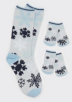 Snowflake Print Matching Pet Sock Set