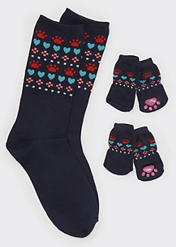 Navy Fair Isle Paw Print Matching Pet Sock Set